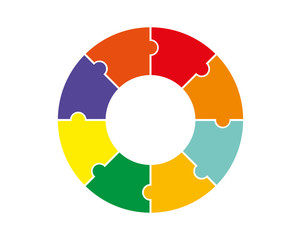 A flat image of a round puzzle for applications and websites, a long shadow
