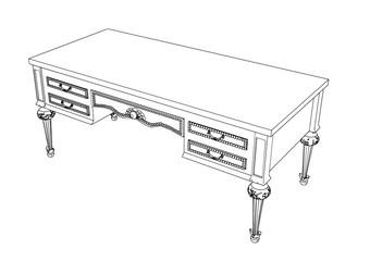 sketch of a desk vector