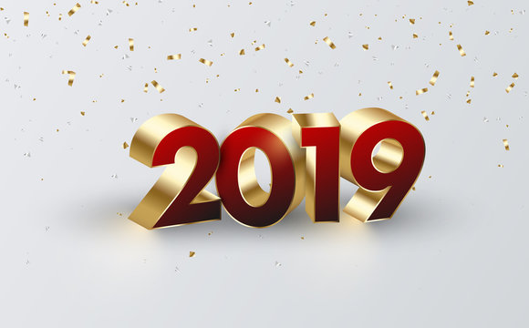 Happy New Year 2019 background with 3d figures and confetti.