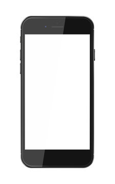 Realistic smart phone with blank screen.