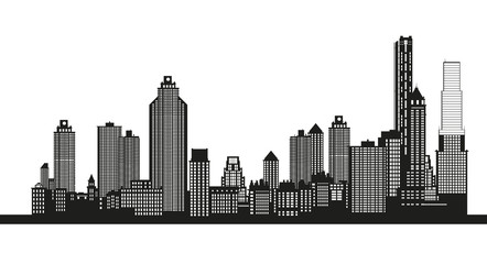 Silhouette of the city. Cityscape design. Skyline architecture