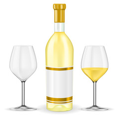 Bottle of white wine with glasses