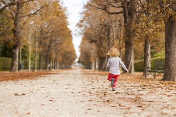 Little child running trough tree alley in autumn. Kleinkind läuft durch herbstliche Baumallee.