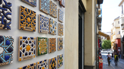 Souvenirs of Granada. Ceramic arabesque magnets