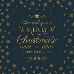 Merry Christmas - wishes with festive decorations and stars. Vector.