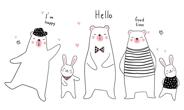 Banner background funny animal bear and rabbit