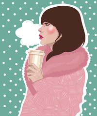 illustration stylish brunette girl in a trendy pink coat holds a hot coffee take-away