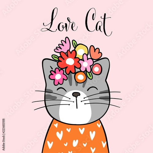 Draw Cute Cat On Sweet Pastel And Word Love Cat Stock Image And