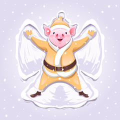 Pink pig in a gold suit of Santa Claus making a Snow Angel. Cute Christmas characters for Holiday design. Vector illustration