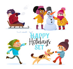 Set multiracial kids playing in winter. Girls and boys making snowman, children playing in snowballs, sledding, playing with dog. Outdoor fun on Christmas vacation or holidays. Vector Illustration