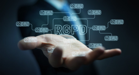 Businessman protecting his datas with GDPR law interface