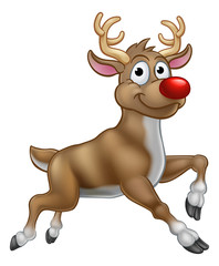 A reindeer Christmas red nosed cartoon character illustration