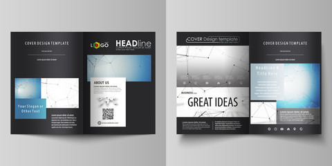 Business templates for bi fold brochure, magazine, flyer. Cover design template, vector layout in A4 size. Geometric blue background, molecule structure, science concept. Connected lines and dots.