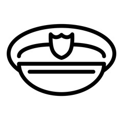 Policeman's hat line icon. Police officer cap illustration isolated on white. Uniform outline style design, designed for web and app. Eps 10.