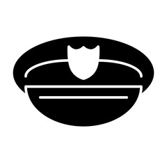 Policeman's hat solid icon. Police officer hat illustration isolated on white. Uniform glyph style design, designed for web and app. Eps 10.