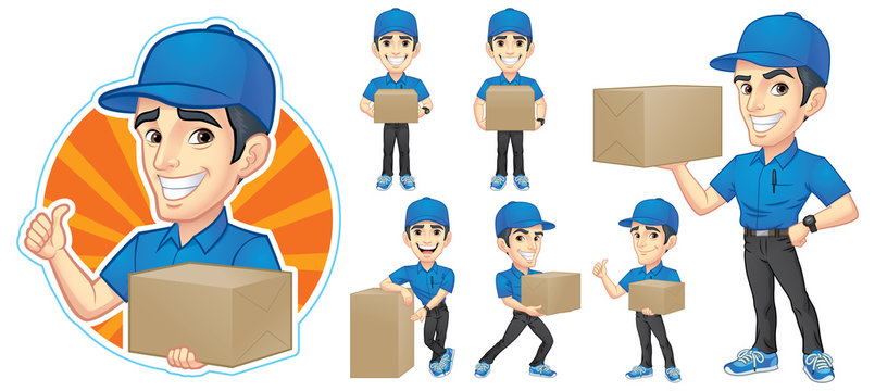 Courier Young Man Character Set with 6 Poses_Vector Illustration EPS 10