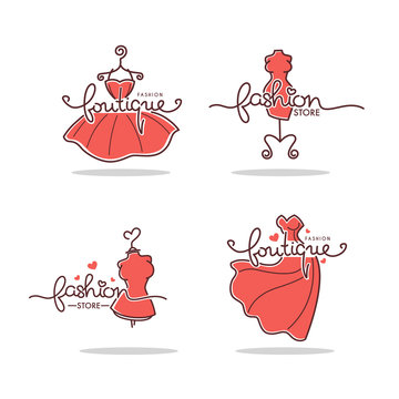 vector set of Fashion Boutique and store logo, label, emblems with doodle line art dresses and lettering composition