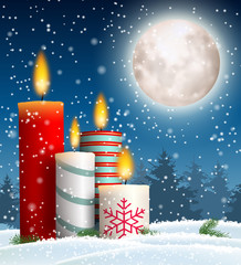 Christmas candles in snowy landscape with moon