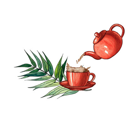 Illustration of pouring tea into a cup from a tea pot with a splash of tea. Hand drawn illustration of tea pot and tea cup with green leaves. Cup of tea isolated on white.