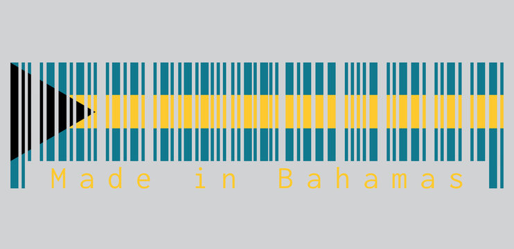 Barcode set the color of Bahamas flag, aquamarine and gold color with the black chevron aligned to the hoist-side on grey background, text: Made in Bahamas. concept of sale or business.