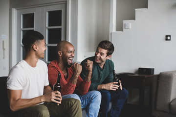 Male friends watching sports on TV