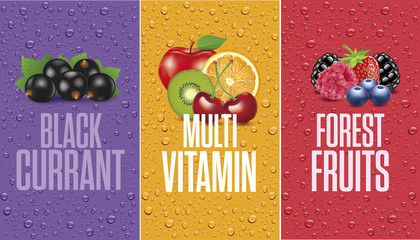 juice drops with black currant, forest fruits and multivitamin