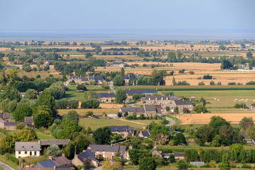 Beautiful aerial view of the rural landscape of Bretagne seen from Mont Dol near Dol-de-Bretagne, France