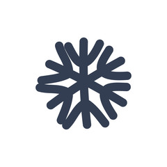 ChSnowflake icon. Black silhouette snow flake sign, isolated on white background. Flat design. Symbol of winter, frozen, Christmas, New Year holiday. Graphic element decoration. Vector illustration