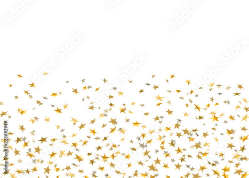 Gold stars falling confetti isolated on white background