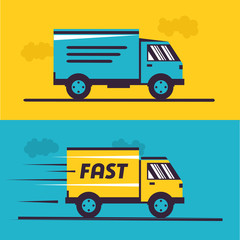 Delivery service. Illustration of fast shipping. Truck van of rides at high speed.