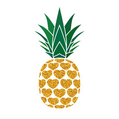 Pineapple golden with hearts. Tropical gold exotic fruit isolated white background. Symbol of organic food, summer, vitamin, healthy. Nature logo. Design element icon. Vector illustration