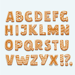 Christmas or New Year alphabet cookies set with glaze vector illustration. Isolated textured letters on white background.