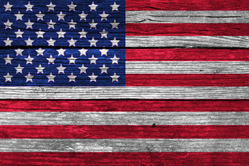 USA Flag on the wooden wall