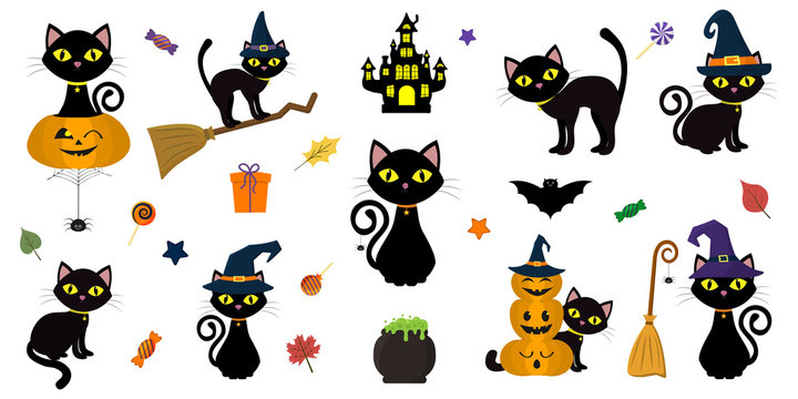 Happy Halloween. Mega set of black cat with yellow eyes in different poses with a pumpkin, on a broomstick, in a hat of a witch and other elements isolated on a white background. Cartoon, vector