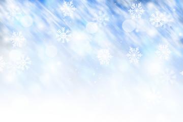 Blue winter background blurred