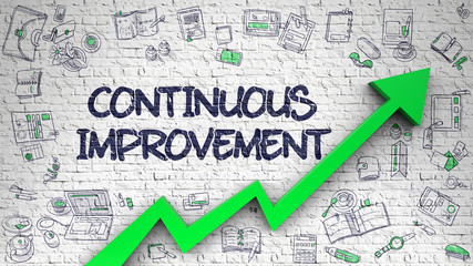 Continuous Improvement Drawn on White Wall. 3d