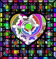 abstract ornament color lattice and large heart