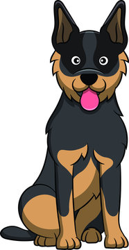 Cute Australian Cattle Cartoon Dog. Vector illustration of an australian cattle dog breed.