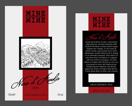 Front and Rear of Modern Wine Label Template