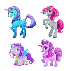 Little cute cartoon unicorn icons set. Beautiful fantasy pony.