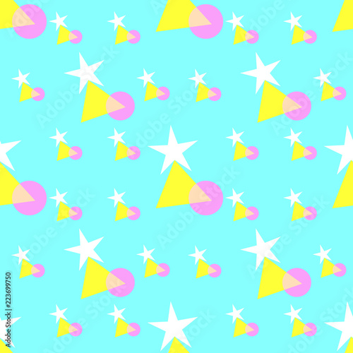 Seamless Pattern Of Colorful Stars Triangle And Circle Shapes Pastel Colors