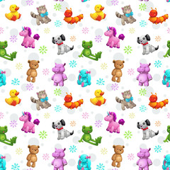 Seamless pattern with funny textile stuffed toys.