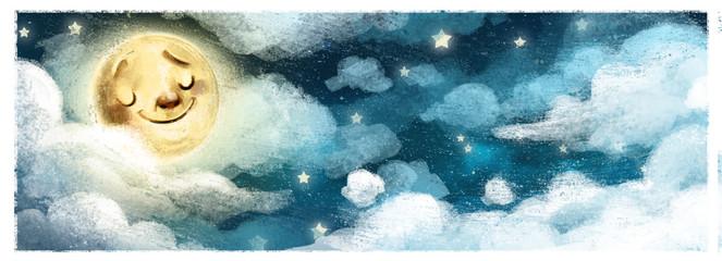 cielo nocturno con luna
