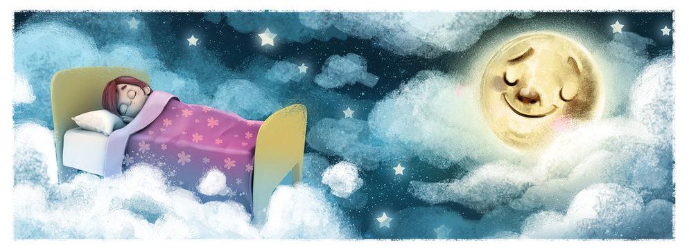 niña soñando con la luna de noche