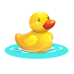 Cute cartoon yellow rubber duck. Vector illustration.