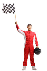 Door stickers Motor sports Racer holding a checkered flag and a helmet