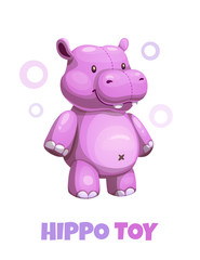 Cute cartoon violet hippo textile stuffed toy. Vector baby plush toy icon.