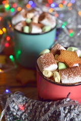Cup of cocoa decorated with marshmallow