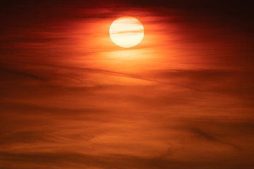 Beautiful sunset. Evening sundown. Red yellow atmosphere sky.