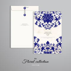 Vector template. Vertical big envelope with buttons. Beautiful floral pattern in chinese style. Watercolor hand drawing background.